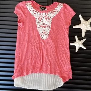 Hearts lace and flow Tee-Shirt coral sz girl 10/12